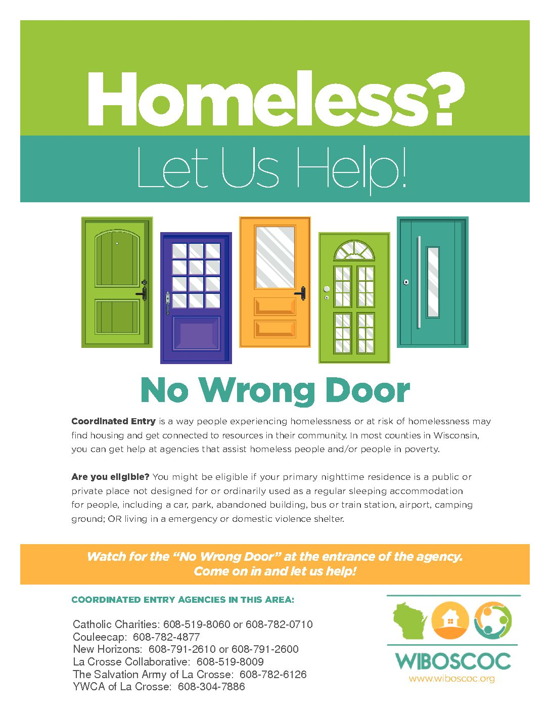 No Wrong Door – Where to Access Assistance if You Are Homeless or At Risk in Our Community